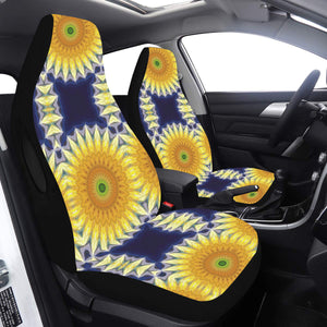 Car Seat Cover Airbag Yellow Navy Daisy Chain Car Seat Cover Airbag Compatible(Set of 2)
