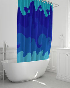"Shower Curtain Painted Blue Waves- 72""x 72"""