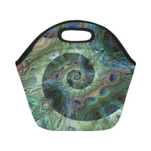 Load image into Gallery viewer, Neoprene Lunch Tote - Peacock Spiral