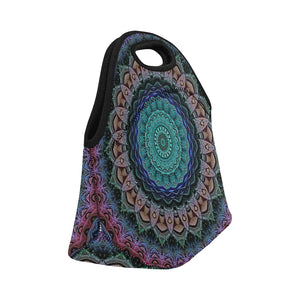 Neoprene Lunch Tote- Teal and Pink Mandala