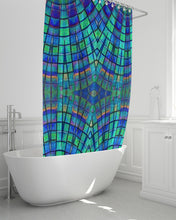 Load image into Gallery viewer, Shower Curtain- Teal Purple Kaleidoscope, 72 x 72""