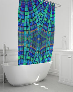 Shower Curtain- Teal Purple Kaleidoscope, 72 x 72""