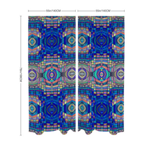 "Load image into Gallery viewer, Lightweight Chiffon Curtain Pair - 55""x78"", Easy Blue Mosaic"