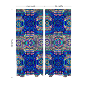 "Lightweight Chiffon Curtain Pair - 55""x78"", Easy Blue Mosaic"