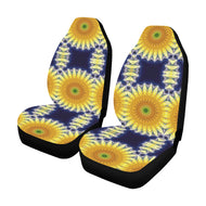 Yellow Navy Daisy Chain Car Seat Covers (Set of 2)