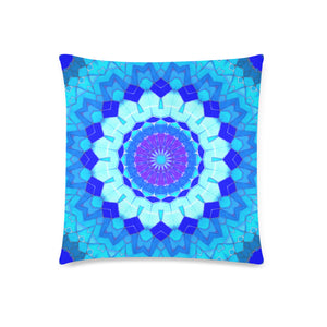 "2-sided Throw Pillow Cover 18"" x 18"" - Blue Mosaics 1"
