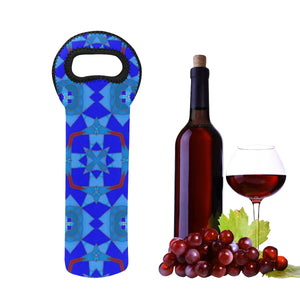 1- Bottle Neoprene Wine Tote- Mosaic Blue & Red Cross