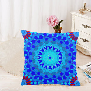 "2-Sided Throw Pillow Cover 18"" x 18"" - Blue Mosaics 2"