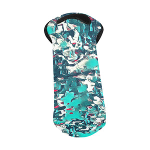 1- Bottle Neoprene Wine Tote- Teal Abstract