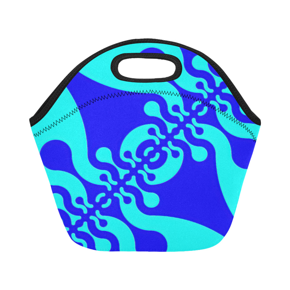 Neoprene Lunch Tote- Wiggle in Blues