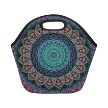 Load image into Gallery viewer, Neoprene Lunch Tote- Teal and Pink Mandala