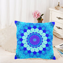 "Load image into Gallery viewer, 2-sided Throw Pillow Cover 18"" x 18"" - Blue Mosaics 1"