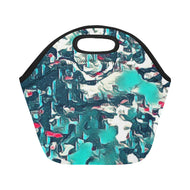 Neoprene Lunch Tote - Teal Abstract
