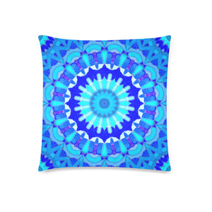 "Throw Pillow Cover 18"" x 18"" - Blue Mosaics 4"