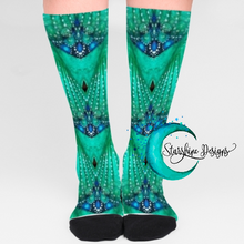 "Load image into Gallery viewer, Women's Fashion Socks ""Teal Chandelier"" Mid Length with Black Toe and Heel"