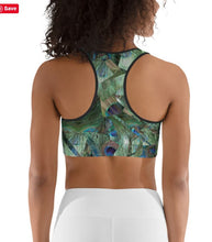 "Load image into Gallery viewer, Sports Bra / Yoga Top- ""Peacock Pandemonium"""
