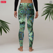 "Load image into Gallery viewer, Women's Regular Waisted Pattern Leggings Full-Length Yoga Pants- in ""Peacock Pandemonium"""