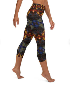 "Women's High Waisted Pattern Leggings Capri Length Yoga Pants (Mid-Calf) - in ""Stained Glass 1"""