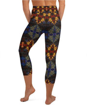 "Load image into Gallery viewer, Women's High Waisted Pattern Leggings Capri Length Yoga Pants (Mid-Calf) - in ""Stained Glass 1"""