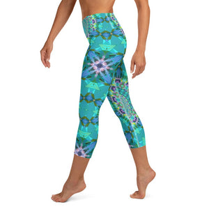 "Women's High Waisted Pattern Leggings Capri Length Yoga Pants (Mid-Calf) in ""Sun Salutation"""