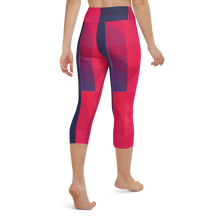 Load image into Gallery viewer, Navy & Red Colorblock Yoga Waist Capri Leggings