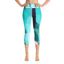 Load image into Gallery viewer, Sea Green Colorblock Yoga Waist Capri Leggings