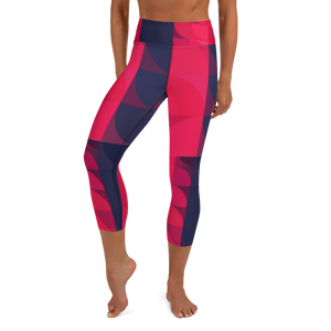 Navy & Red Colorblock Yoga Waist Capri Leggings