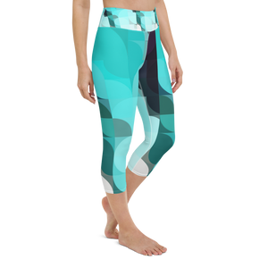 Sea Green Colorblock Yoga Waist Capri Leggings