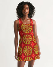 Load image into Gallery viewer, Racerback Dress in Red & Yellow Mandala Sundials