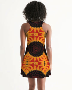 Racerback Dress - Orange Red Black Mandala