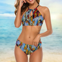 "Load image into Gallery viewer, SOLD OUT: High Neck Halter Top Bikini Set Printed with Real Art - ""Expressionistic Landscape"""
