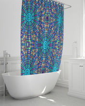 "Load image into Gallery viewer, Shower Curtain- Turquoise Mandala Stars Pink Yellow , 72""x72"""