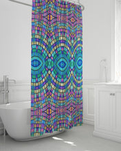 "Load image into Gallery viewer, Shower Curtain- Turquoise & Fuschia- 72""x72"""