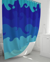 "Load image into Gallery viewer, Shower Curtain Painted Blue Waves- 72""x 72"""