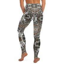 "Load image into Gallery viewer, High Waist, Ankle Length Yoga Leggings- in ""Neutral Flourish"""