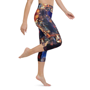 Lights of the City Art Yoga Waist Capri Leggings