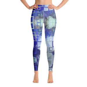 "Women's High Waisted Pattern Leggings Full-Length Yoga Pants - in ""Blue Square Mosaic"""