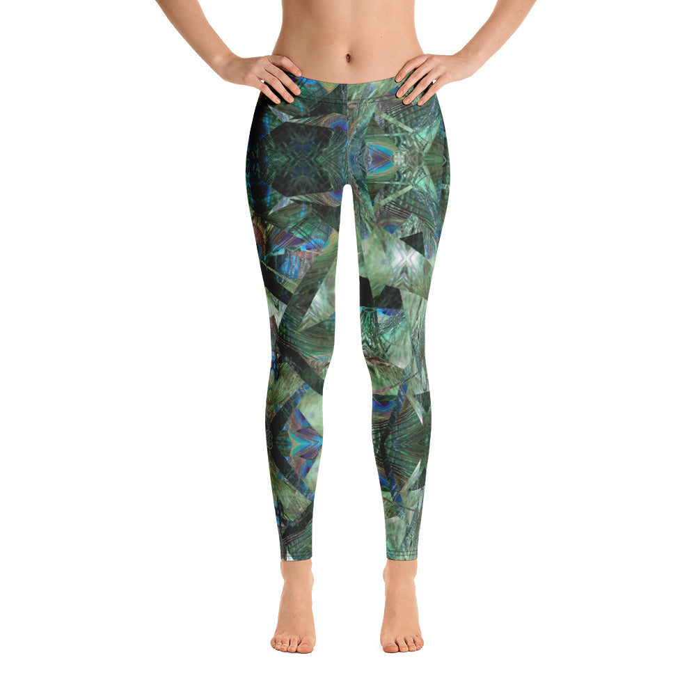 Women's Regular Waisted Pattern Leggings Full-Length Yoga Pants- in