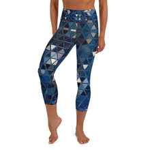 Load image into Gallery viewer, Women's High Waisted Pattern Leggings Capri Length Yoga Pants (Mid-Calf) in Blue Reflections