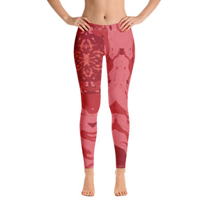 "Women's High Waisted Pattern Leggings Capri Length Yoga Pants (Mid-Calf)- in ""Pomegranate"""