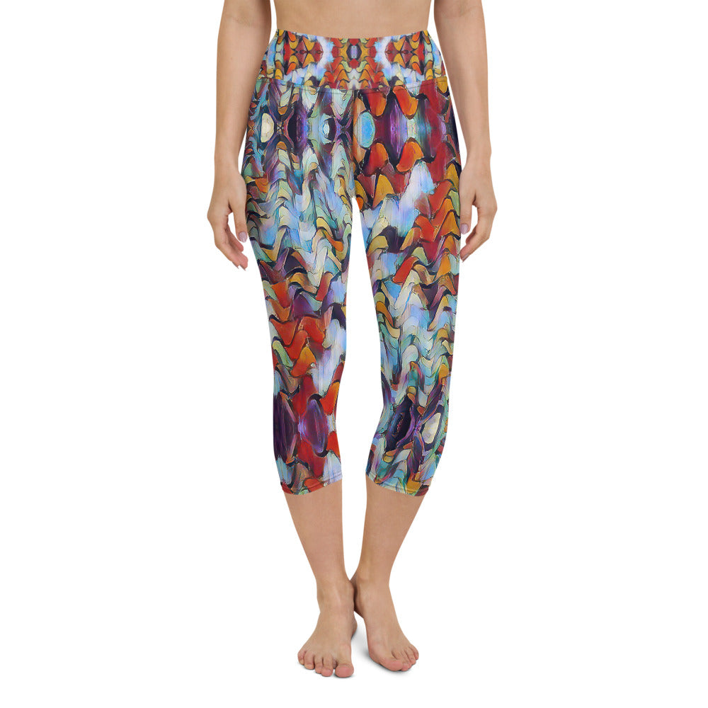 Women's High Waisted Pattern Leggings Capri Length Yoga Pants (Mid-Calf) - in