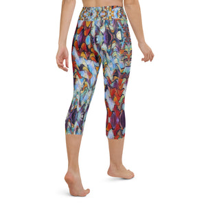 "Women's High Waisted Pattern Leggings Capri Length Yoga Pants (Mid-Calf) - in ""Expressionistic Landscape"""