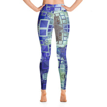 "Load image into Gallery viewer, Women's High Waisted Pattern Leggings Full-Length Yoga Pants - in ""Blue Square Mosaic"""