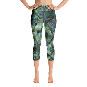Peacock Pandemonium- Art You Can Wear, Yoga/ High Waisted  Capri Leggings