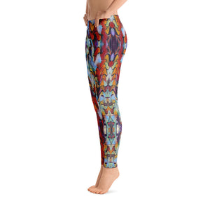 "Women's Regular Waisted Pattern Leggings Full-Length Yoga Pants - in ""Expressionistic Landscape"""