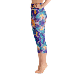 "Women's High Waisted Pattern Leggings Capri Length Yoga Pants (Mid-Calf) in ""Meander"""