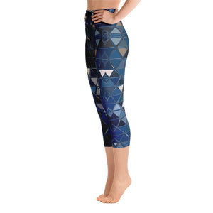Women's High Waisted Pattern Leggings Capri Length Yoga Pants (Mid-Calf) in Blue Reflections