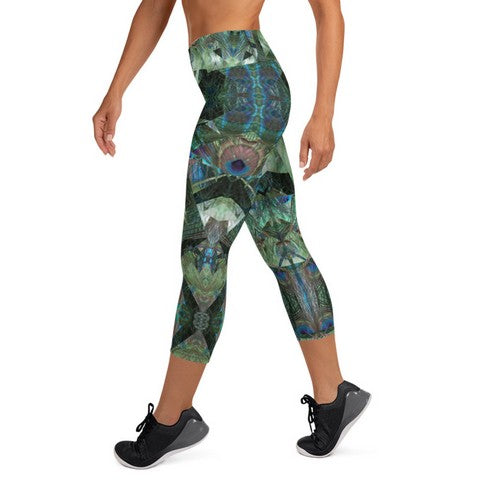 Women's High Waisted Pattern Leggings Capri Length Yoga Pants (Mid-Calf)-