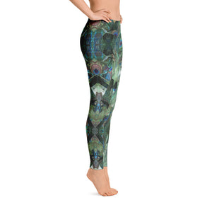 "Women's Regular Waisted Pattern Leggings Full-Length Yoga Pants- in ""Peacock Pandemonium"""