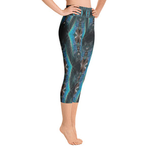 "Women's High Waisted Pattern Leggings Capri Length Yoga Pants (Mid-Calf) - in ""Teal Feathers"""